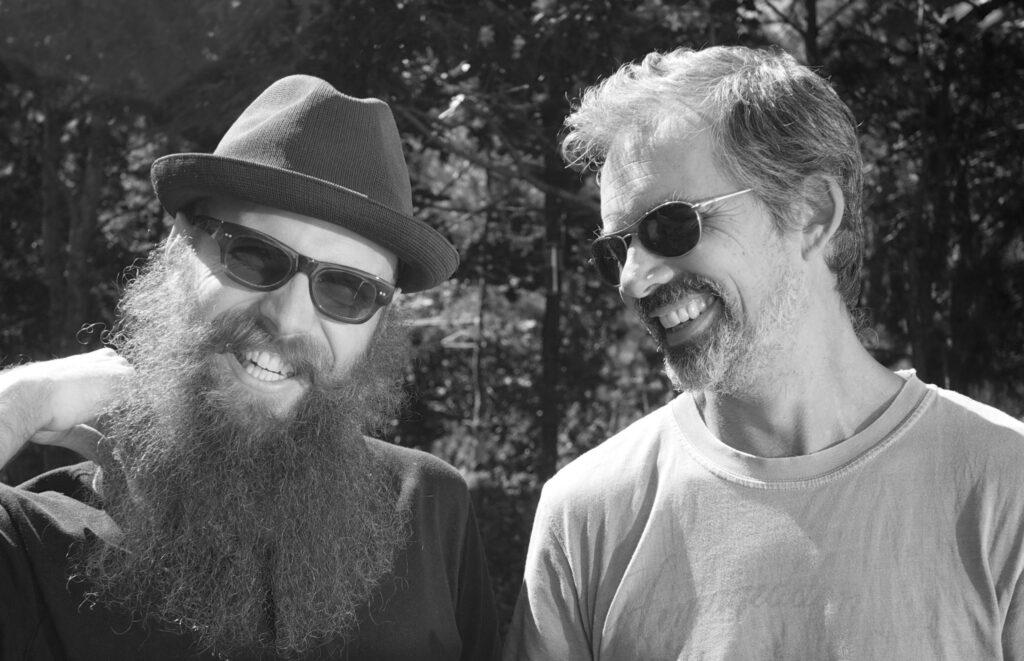 Steve Lambert and Stephen Duncombe laughing